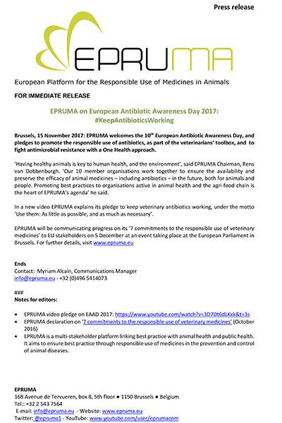 EPRUMA on European Antibiotic Awareness Day 2017: #KeepAntibioticsWorking