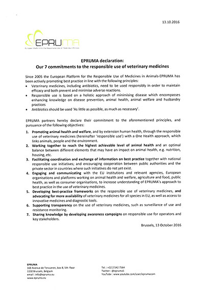 EPRUMA declaration: Our 7 commitments to the responsible use of veterinary medicines