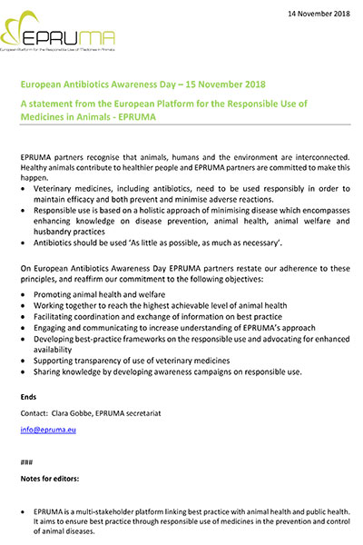 A statement from the European Platform for the Responsible Use of Medicines in Animals - EPRUMA