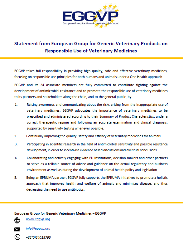 Statement from European Group for Generic Veterinary Products on Responsible Use of Veterinary Medicines